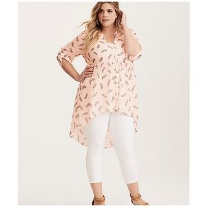 Torrid size 3 pink high low button up tunic